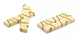 White wafers with chocolate. Wafers with chocolate on white background Royalty Free Stock Photo