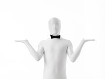 White waiter. With black bow on white background Royalty Free Stock Photography