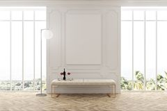 White waiting room interior, poster, and bench. White waiting room interior with a wooden floor, two large windows with a poster between them, and a white bench Royalty Free Stock Photos
