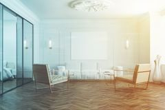White waiting room poster and armchairs toned. White waiting room interior with a wooden floor, a mirror, a white sofa, and two beige armchairs. A poster. 3d Royalty Free Stock Photography