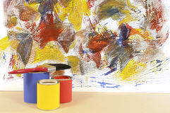 Abstract painted wall, paint cans, paintbrush, home repairs concept Stock Photography