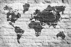 White Wall And A Picture Map Of The World Royalty Free Stock Image