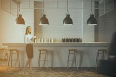 White wall bar interior, woman Royalty Free Stock Photography