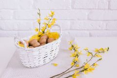 White, Wall, Basket, Yellow Stock Photos