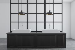 Double bathroom sink, dark wood and white. White wall bathroom interior with a metal decoration details and a double sink standing on a dark wooden countertop stock illustration
