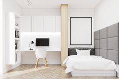 White wall bedroom and home office, single Stock Image