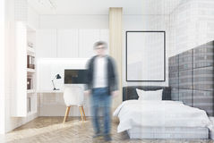 White wall bedroom and home office, single, man Royalty Free Stock Photos