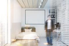 White wall bedroom and home office, toned Stock Images