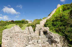 White Wall of Berwick. Defensive wall leading from the now totally  ruined castle at Berwick built 1296 also known as Breakneck Stairs Stock Photography