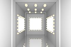 White wall for blank frame. Empty room with blank frame design light and white wall Stock Photo