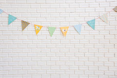 White wall and cartoon flag, childlren bedroom Royalty Free Stock Photos