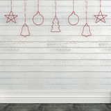 White wall with Christmas decorations Stock Photo
