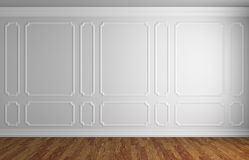 White wall in classic style room with parquet. Simple classic style interior illustration - white wall with white decorative frame on the wall in classic style Royalty Free Stock Photo