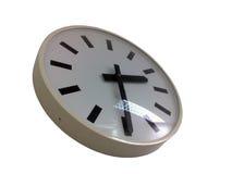 White wall clock. Isolated on studio background Stock Photo