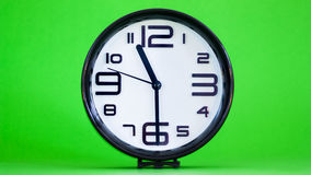 White wall clock green background Royalty Free Stock Photos