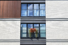 White wall of the contemporary building with balkon Stock Image