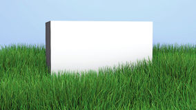 White wall with a copy space on green grass lawn, 3D illustratio Stock Image