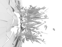 White wall destruction. Chaotic demolition. Abstract background Stock Photo