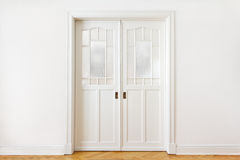 White wall door double sliding Stock Photography