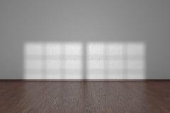 White wall of empty room with dark parquet floor Stock Photo