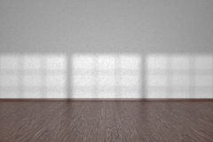 White wall of empty room with dark parquet floor Royalty Free Stock Photography