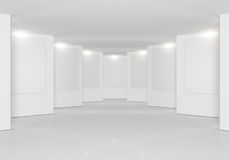 White wall in the gallery Royalty Free Stock Photo