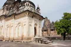 White wall hindu temple of the Khajuraho Group of Monuments Stock Photos