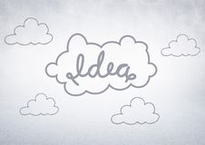 White wall with idea doodle Royalty Free Stock Images