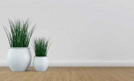 White wall interior with plant vases on bright wood floor. 3d render Stock Images