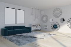 Mirror living room, blue sofa, side. White wall living room interior with a soft carpet, a blue sofa with two posters hanging above it and a marble chest of Royalty Free Stock Photos