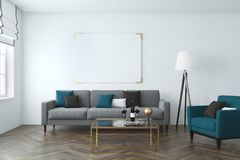 White wall living room, sofa, poster. White wall living room with a wooden floor, a gray sofa and a blue armchair and a large horizontal poster. 3d rendering Stock Photography