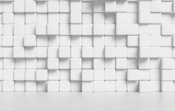 White abstract cubes wall and white floor 3d background. White wall made of white cubes and smooth floor with reflection abstract simple 3d illustration Stock Photo