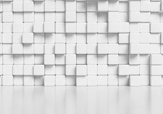 White abstract cubes wall and glossy floor 3d background. White wall made of white cubes and smooth glossy floor with reflection abstract simple 3d illustration Royalty Free Stock Images
