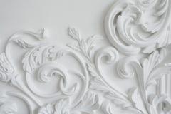 White wall molding with geometric shape and vanishing point. Horizontal Stock Photo