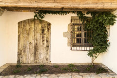 White wall old Mediterranean houses facade Stock Images