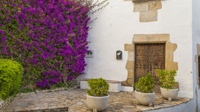 White wall old Mediterranean houses facade Stock Image