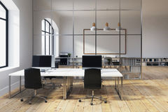 White wall open office interior Royalty Free Stock Images