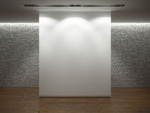 White wall over brickwall with wooden floor Stock Photography
