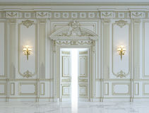 White wall panels in classical style with gilding. 3d rendering Stock Images