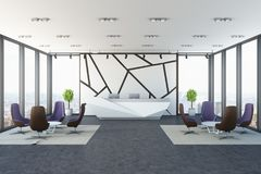 White wall pattern office reception, armchairs. Modern panoramic office with white walls with a geometric pattern, a reception and two sets of armchairs and Stock Photos