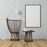 White wall room, armchair and poster, concrete Stock Image