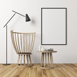 White wall room, armchair and poster Stock Photography