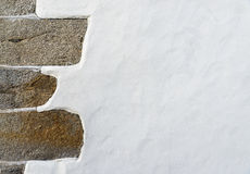 White wall with a stone corner Stock Image