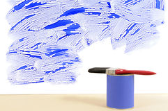 Home repairs, decorating, renovation, paint can, paintbrush, copy space Stock Photo