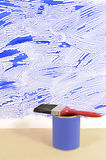 Unfinished home decorating, paint can, paintbrush, copy space, vertical Stock Photo