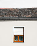 White wall with window and sky no clouds royalty free stock photo
