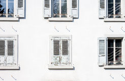 White wall with windows Royalty Free Stock Image