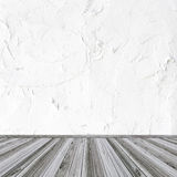 White wall and wood floor Royalty Free Stock Images