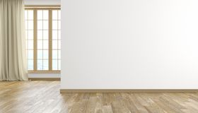 White wall and wood floor modern bright empty room interior. 3D render illustration. White wall and wood floor modern bright empty room interior with window and stock illustration