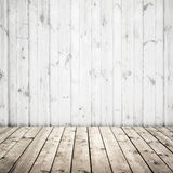 White wall and wooden floor, abstract interior royalty free stock image